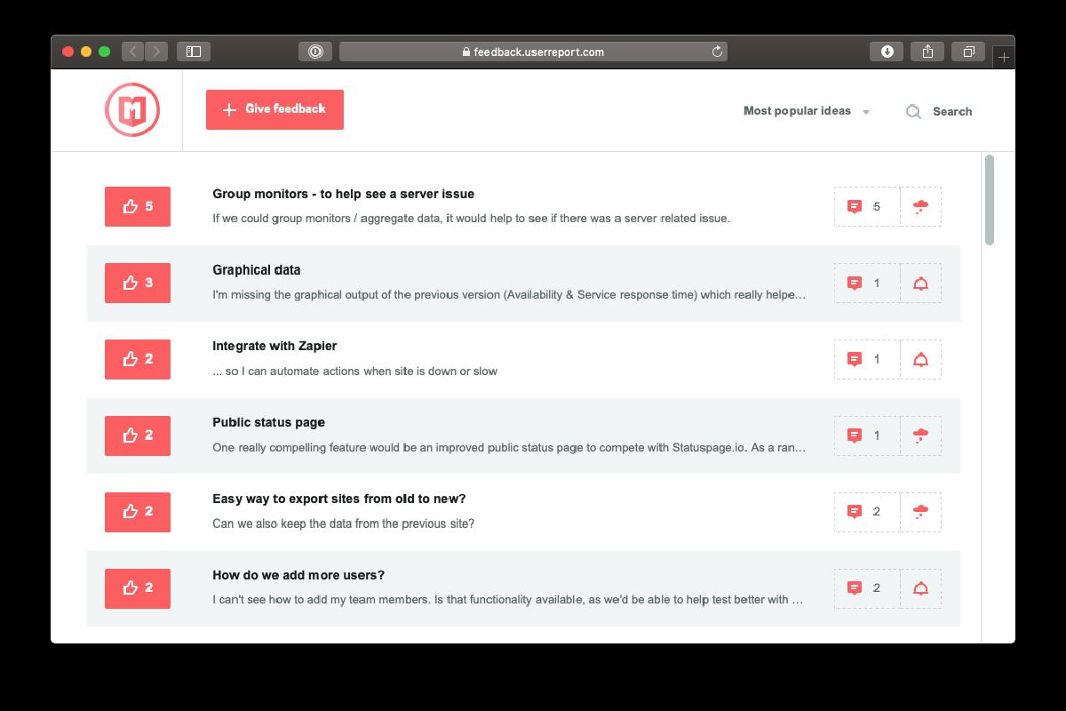 Feedback Forum Screenshot