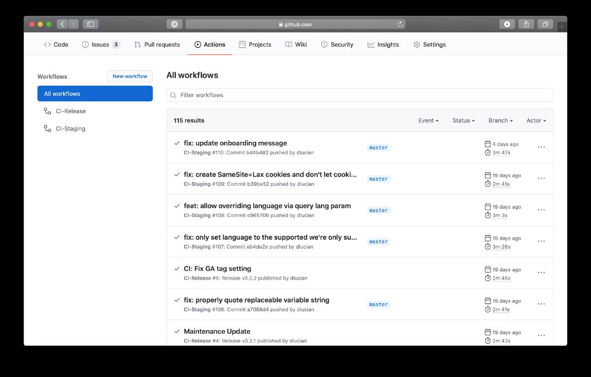 GitHub Actions Screenshot