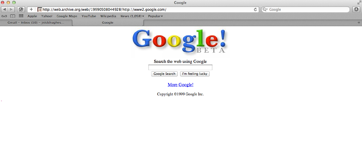 Google's Homepage 1999